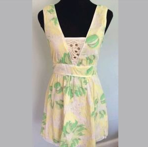 FREE PEOPLE Boho Yellow Dress Size 6 Cotton MINT